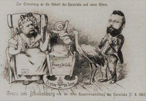Scherzpostkarte Gründung Harzklub 1886